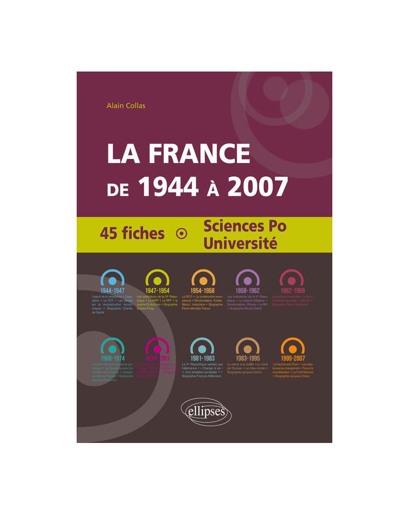 La France de 1944 à 2007 - 45 fiches pour Sciences Po