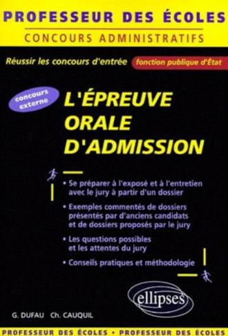 L'épreuve orale d'admission au concours de professeur des écoles