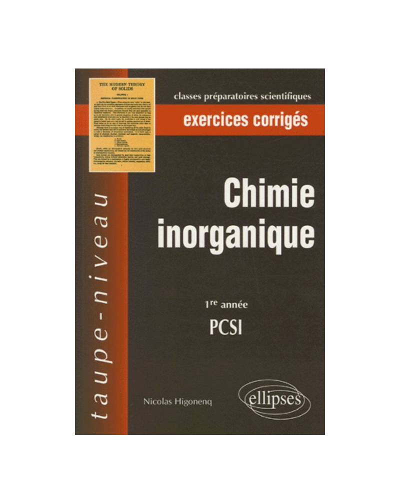 Chimie inorganique - 1re année PCSI - Exercices corrigés
