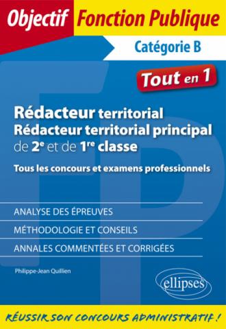Rédacteur territorial, rédacteur territorial principal de 2e et de 1re classe - Tous les concours et examens professionnels