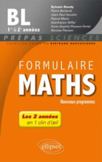 Formulaire Maths BL 1re et 2e années - nouveaux programmes 2013-2014
