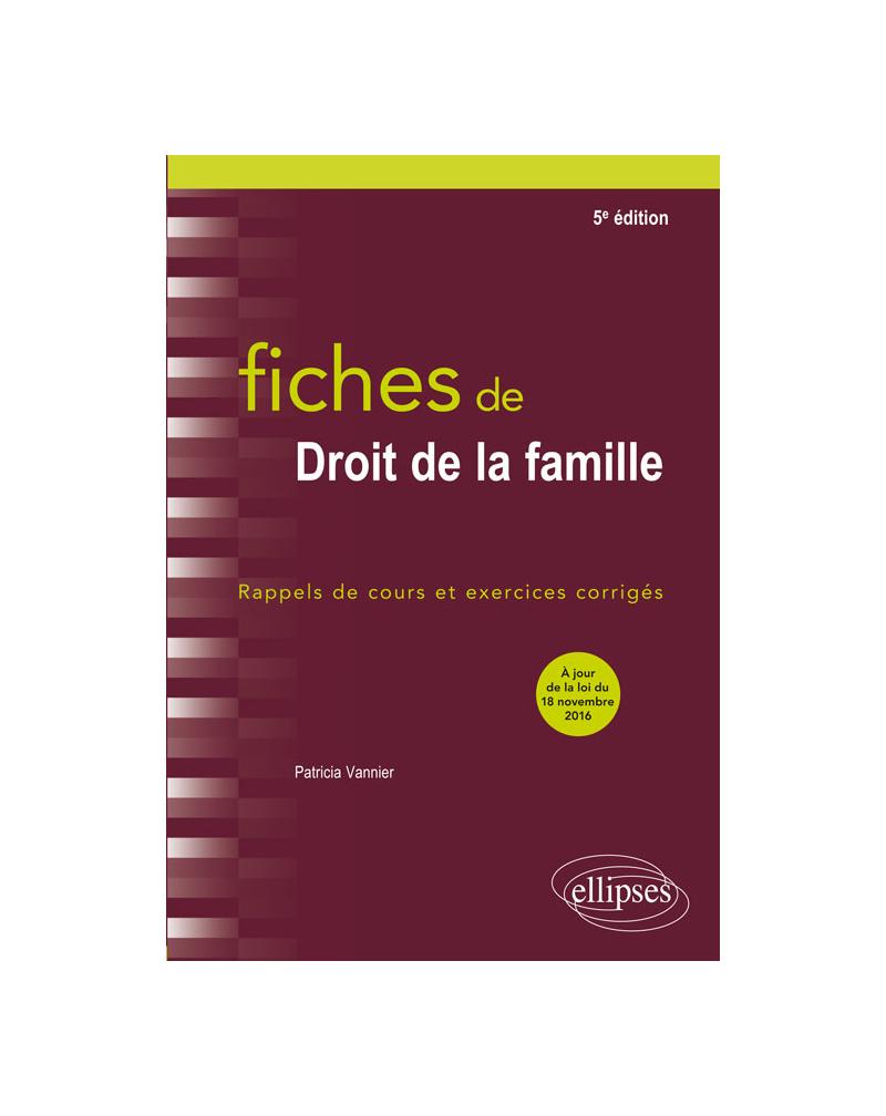 Fiches de Droit de la famille - 5e édition