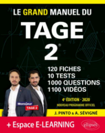 Le Grand Manuel du TAGE 2 – 10 tests blancs + 120 fiches de cours + 1000 vidéos – édition 2020