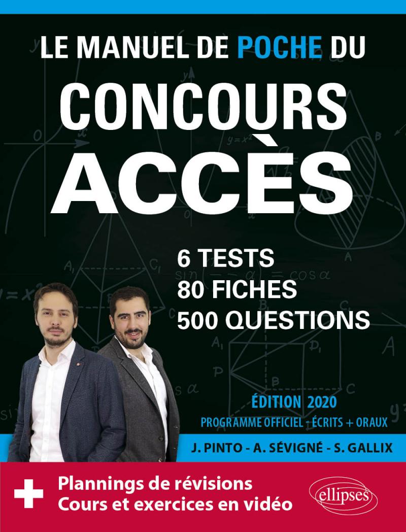 Le Manuel de POCHE du concours ACCES (écrits + oraux) - 80 fiches, 6 tests, 500 questions + corrigés en vidéo - Édition 2020