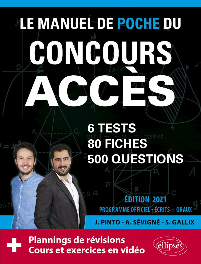Le Manuel de POCHE du concours ACCES (écrits + oraux) Edition 2021 - 80 fiches, 80 vidéos de cours, 6 tests, 500 questions + corrigés en vidéo