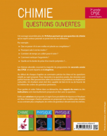 Chimie - Questions ouvertes - 2e année de CPGE scientifiques