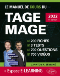 Le Manuel de Cours du TAGE MAGE – 3 tests blancs + 200 fiches de cours + 700 questions + 700 vidéos