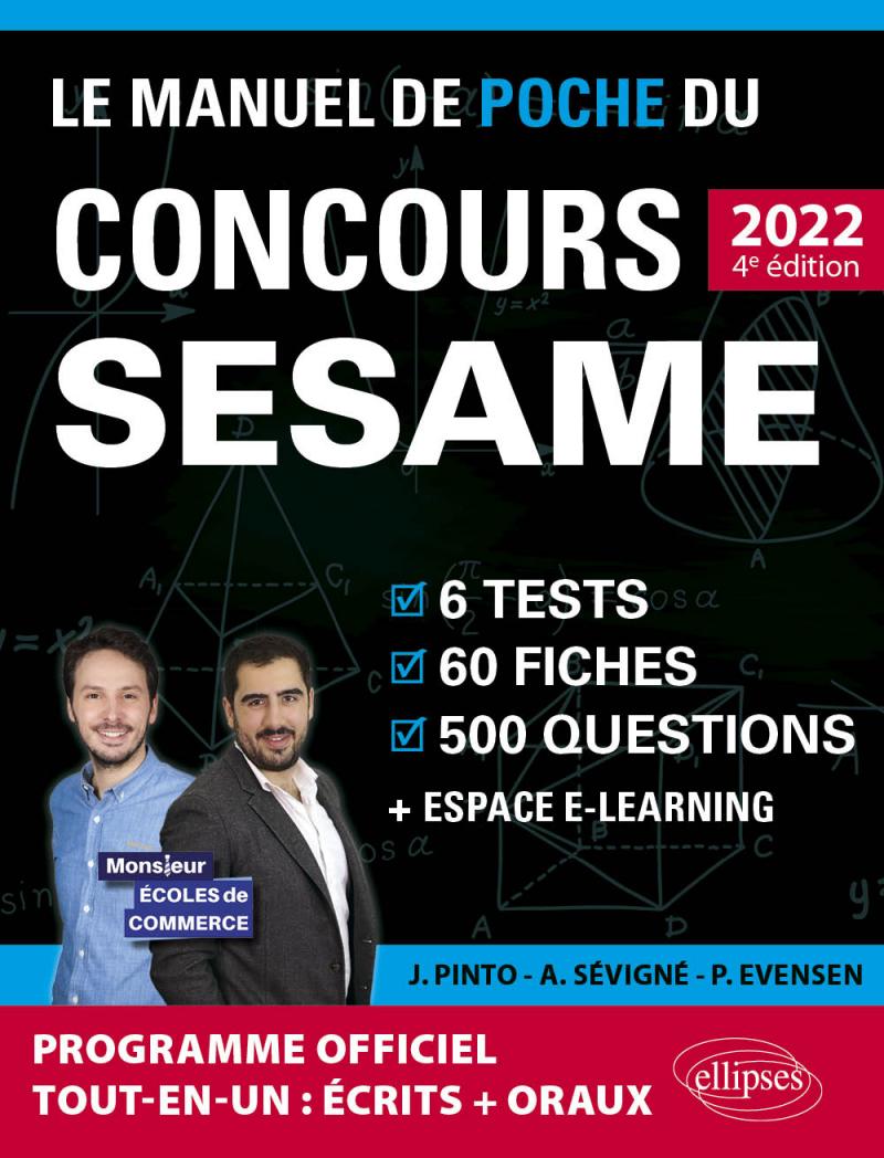 Le Manuel de POCHE du concours SESAME 2022 (Programme officiel : écrits + oraux)
