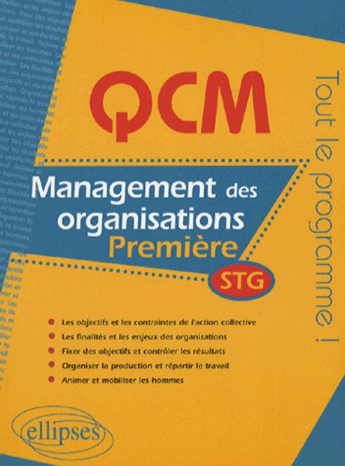 QCM management des organisations - Premi�re STG