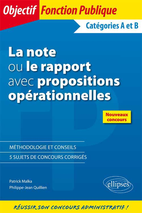La note ou le rapport avec propositions op�rationnelles